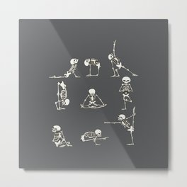 Skeleton Yoga_Gray Metal Print