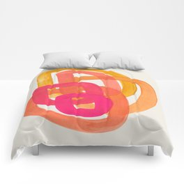 Funky Retro 70' Style Pattern Orange Pink Greindent Striped Circles Mid Century Colorful Pop Art Comforters