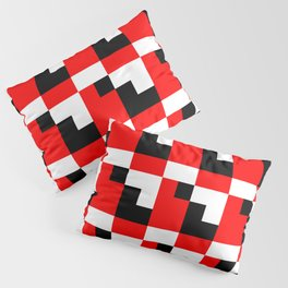 Red black step pattern Pillow Sham