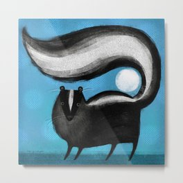 SKUNK ON BLUE Metal Print
