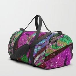 Fuschia Outer Space Forest Explosion Duffle Bag