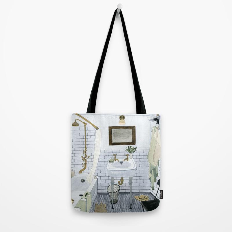 In The Bathroom Tote Bag By Yuliyart