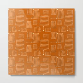 Tribal Arrows and Squares, Primitive Pattern Metal Print