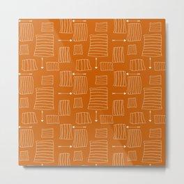 Tribal Arrows and Squares, Primitive Pattern Metal Print