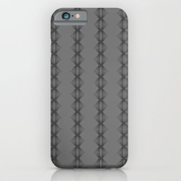 Black abstract saw tooth stripes on grey iPhone Case