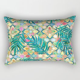 Gilded Moroccan Mosaic Tiles with Palm Leaves Rectangular Pillow