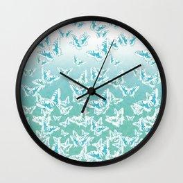 blue butterflies in the sky Wall Clock