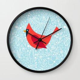 Cardinal Flowers, Carolina Blue Wall Clock