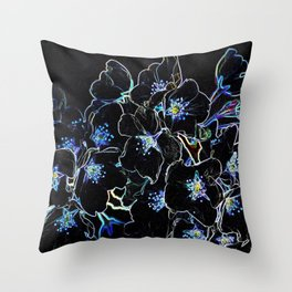 FLOWERS AT MIDNIGHT Throw Pillow