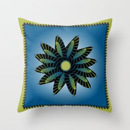 Blue Stitched Flower Throw Pillow