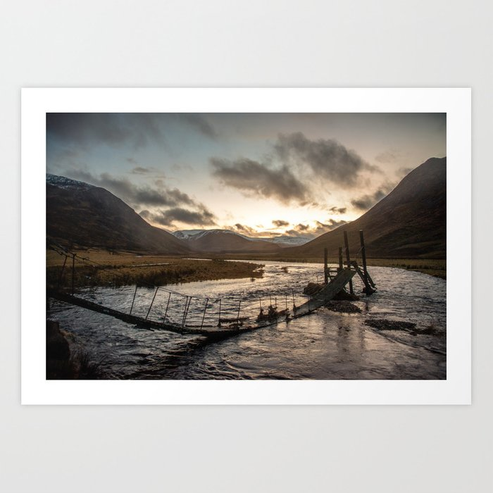 Broken Bridge Valley Dusk Art Print