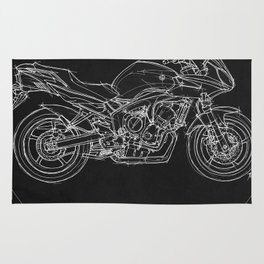 Yamaha FZ6b 2007 art print and motorcycle quote, gift for men Rug