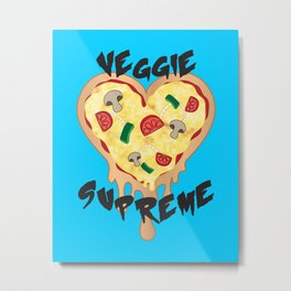 Veggie Supreme - Deluxe Vegetarian Heart Shaped Pizza  Metal Print
