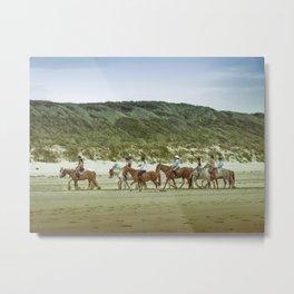 Balade à cheval, beach, Touquet Metal Print