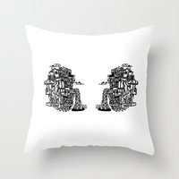 cafe Throw Pillows featuring CAFE by TortueMasquee