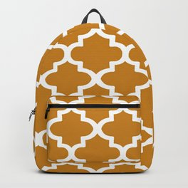 Arabesque Architecture Pattern In Golden Color Backpack