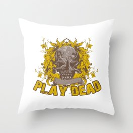 Play Dead Skull Throw Pillow