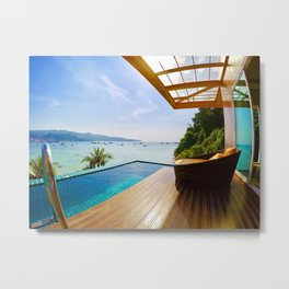 Infinity pool over Phi Phi bay Metal Print