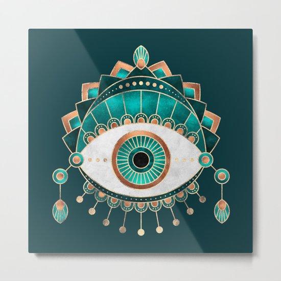 Teal Eye Metal Print