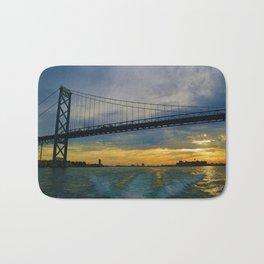 The Ambassador Bridge connects Detroit USA, & Windsor CA Bath Mat