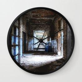 Tardis Waiting In The Hallway Wall Clock