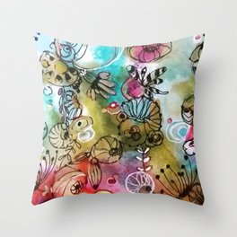 Colorful flowers II Throw Pillow