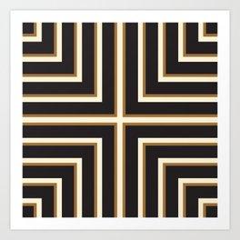 Black & Gold Stripes Art Print