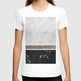 White and Black Marble Silver Glitter Stripe Glam #1 #minimal #decor #art #society6 T-shirt