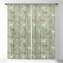 WILD HORSES & Sage Green  Sheer Curtain