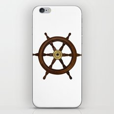 old oak steering wheel for ship or boat iPhone Skin