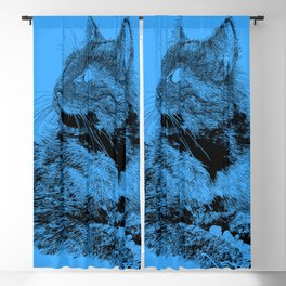 Fluffy drawing, on blue Blackout Curtain