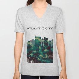 Atlantic City Skyline Unisex V-Neck
