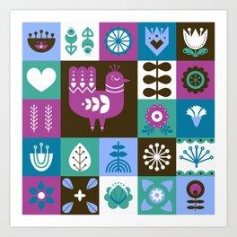 Scandinavian Midcentury Modern Composition With Birds And Flowers Art Print