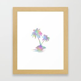Rainbow palm Island Silhouette Framed Art Print