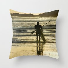 Paddle Surfer at Langland Throw Pillow