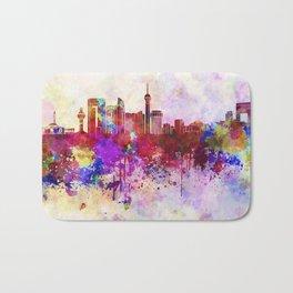Jeddah skyline in watercolor background Bath Mat