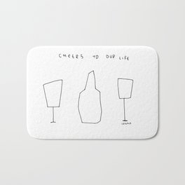 Cheers To Our Life - wine champagne glasses illustration Bath Mat