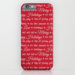 Christmas words pattern iPhone Case