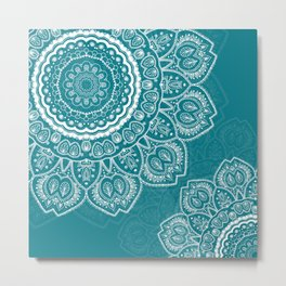 Mandala in White on Teal Metal Print