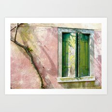 Old green window Art Print