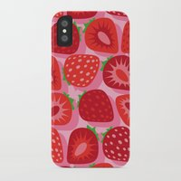 strawberry iPhone & iPod Cases featuring Strawberry by Helene Michau
