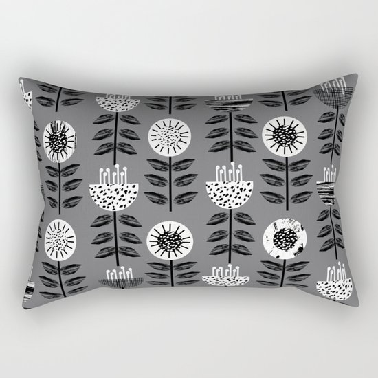 Scandi - modern flower floral pattern scandinavia design retro mid century print monochromatic grey  Rectangular Pillow
