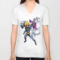 dbz V-neck T-shirts featuring DBZ why so serious by Unic art