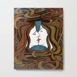 Two Faces Kissing by Peter Behrens  Metal Print
