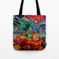 superheros Tote Bags featuring Heroes Unite by JayKay