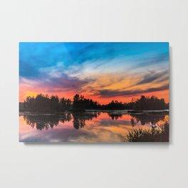 Summer Sunset over Lake Metal Print