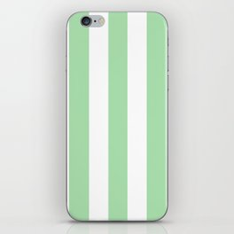 Celadon green - solid color - white vertical lines pattern iPhone Skin