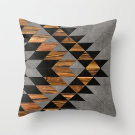 Urban Tribal Pattern 10 Aztec Concrete And Wood Throw Pillow