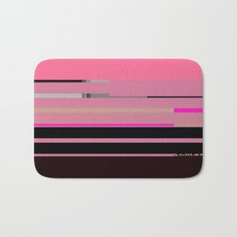 pink with lines. black Bath Mat