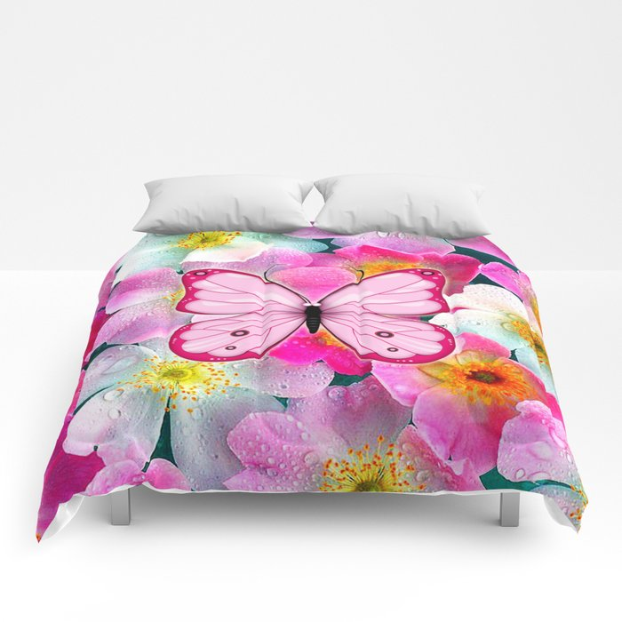 Butterfly and Flowers Comforters